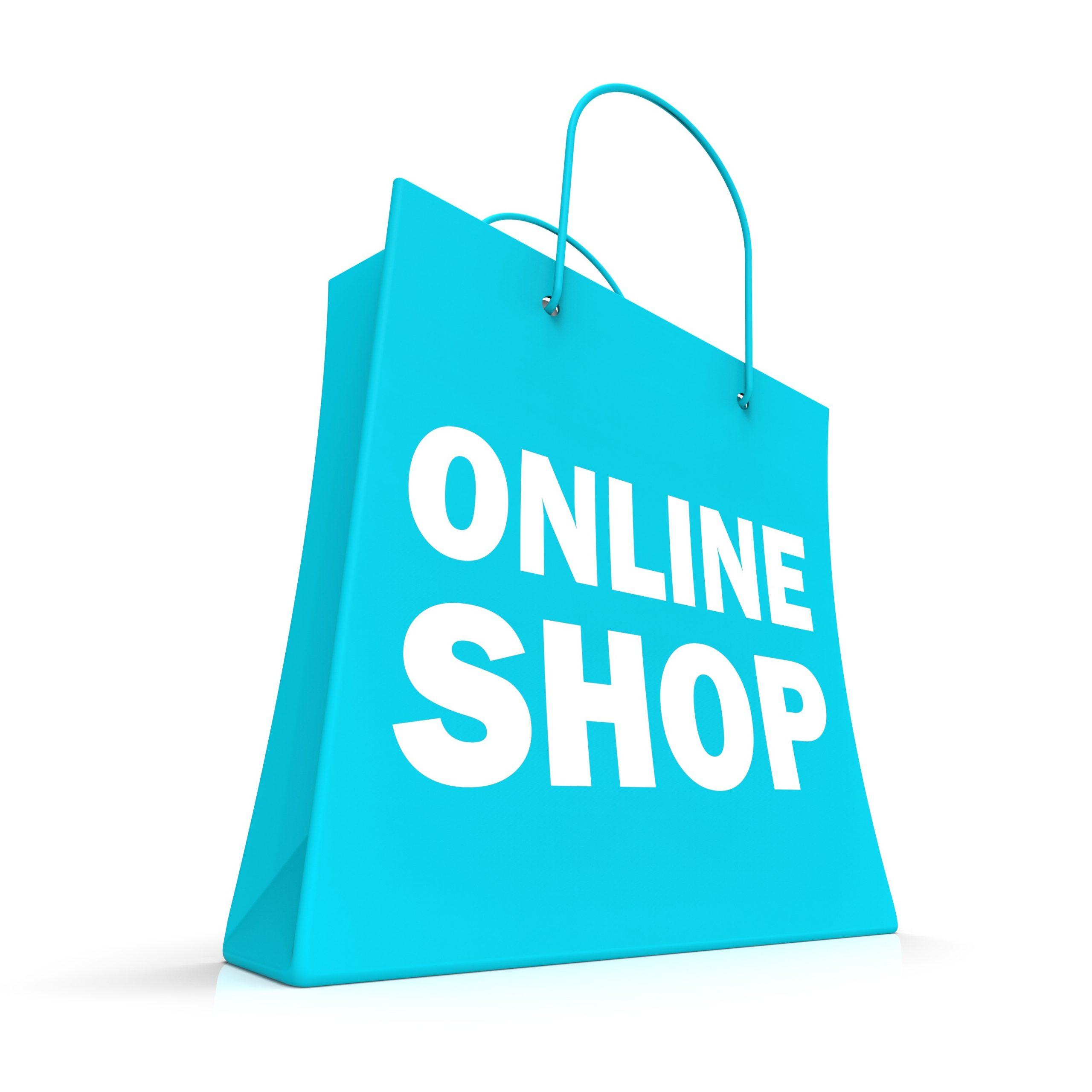 Shopping Online Bag Showing Internet Web Buying